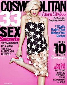Who made Gwen Stefani's white star dress and cap toe pumps that she wore on the cover of Cosmopolitan magazine? V Magazine, Fashion Magazine Cover, Digital Magazine, Gwen Stefani No Doubt, Gwen Stefani Style, Celebrity Gossip, Celebrity News, Celebrity Style, Celebrity Photos