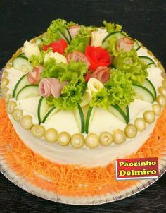 Gourmet Sandwiches, Picnic Sandwiches, Breakfast Sandwiches, Veggie Cakes, Veggie Tray, Amazing Food Decoration, Party Food Buffet, Sandwich Cake, Food Garnishes