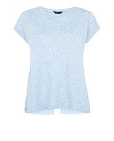 Light Blue Wrap Back T-Shirt  | New Look