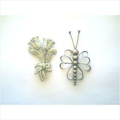2 BIG VINTAGE BROOCHES: POT METAL RHINESTONE TULIPS & STERLING SILVER BUTTERFLY on eBid United States
