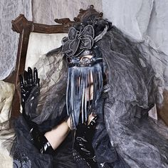 Shadow Ghost Mask and Headpiece / Couture Headpiece / Costume www.RPDesignHouse.etsy.com #darkfashion #cosplay #costume #mask #headdress #couture #armor #leatherwork #leathermask #gothfashion #performance #film