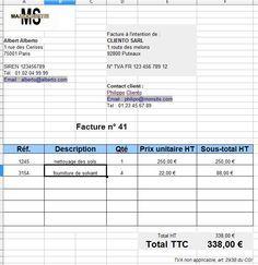 Exemple tableau facture autoentreprene ur excel en gratuit
