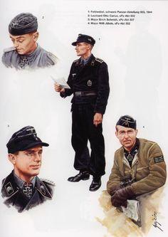 WEHRMACHT - CARRISTI - 1 Feldwebel, Schwere Panzer Abteilung 503,1944 - 2 Leutnant Otto Carlus, sPz-Abt 502 - 3 Major Erich Schmidt, sPz Abt 537 - 4 Major Will Jaehde,sPz Abt 502