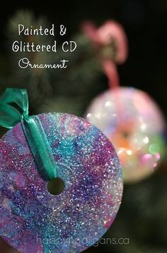 Glitter CD ornaments.