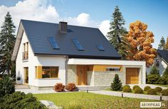 Projekty domów ARCHIPELAG - Santiago G1 ENERGO PLUS Beautiful Small Homes, Good House, Ideas Para, Garage Doors, Villa, Exterior, Cabin, Contemporary, Mansions