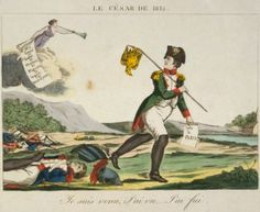 "This print from the Library of Congress French Political Cartoon Collection depicts Bonaparte's Retreat. It compares Napoleon to Julius Caesar, and shows him saying, ""I came, I saw, I fled."""