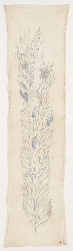 Louise Bourgeois. Leaves 3, 2006  Etching, ink and pencil on fabric  173.1 x 52.7 cm / 68 1/8 x 20 3/4 in