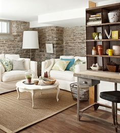 Now this is a finished basement - love the walls and that desk!
