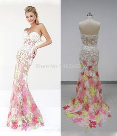Real Picture Strapless Pink Yellow Green Lace Applique Champagne Long Mermaid Evening Party Dress 2014 Vestidos De Fiesta