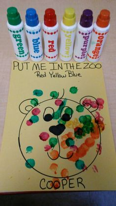 Put me in the zoo Dr. suess craft for toddler's with dot markers