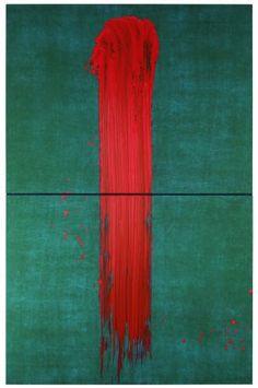 L'un, Fabienne Verdier, 2012 Diptyque vertical. Pigment et encre sur toile