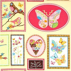 fabric bird butterfly heart rectangular Robert Kaufman