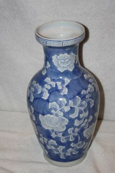 """Beautiful ceramic porcelain vase blue and white floral design. It measures approx: 12.5"""" x 3 3/4""""D x 4""""D base and is in MINT condition. $60 FREE SHIPPING TO US RESIDENCE. Please email me with any questions. Vases For Sale, Porcelain Vase, Floral Design, Blue And White, Mint, Base, Ceramics, Free Shipping, Beautiful"""
