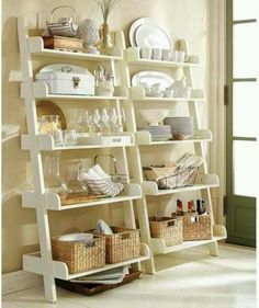 27 Ideas For Living Room Shelves Display Bookshelf Styling Dining Room Shelves, Kitchen Shelves, Wall Shelves, Kitchen Storage, Leaning Shelves, Book Shelves, Open Shelves, Leaning Ladder, Bathroom Shelves