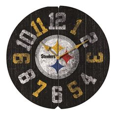 Show your team pride in any room of the house and know what time the big game starts with this Pittsburgh Steelers Vintage Round Clock by Imperial USA. This Officially Licensed clock highlights your f