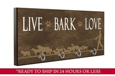 Brown Live Bark Love Dog Leash Holder Dog Leash by QuickShipGifts