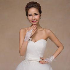 Fingerless Short Beaded Lace Wedding Gloves - Uniqistic.com
