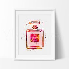 Chanel No. 5 Fashion Modern Contemporary Watercolor Art Print Wall Decor