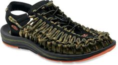 Keen Uneek Stripes Sandals - Men's Keen Uneek Stripes sandals offer open-air comfort and distinctive style with uppers made of nylon cords. They move and adapt to your feet for freedom of movement with security and structure.