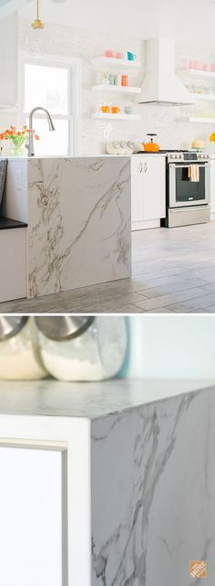 This waterfall edge countertop looks like on-trend Calacatta Marble. But this ultra-compact Dekton material is more durable and so much easier to clean. And we can install it for you! Browse more Dekton countertops at The Home Depot.: