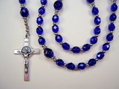 Boys Rosary Catholic 1st Communion Cobalt Blue Czech Glass Beads Primera Comunión el nino Rosario Free Shipping USA by TheGemBeadLink on Etsy