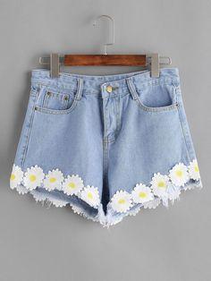 Shop Light Blue Appliques Raw Hem Denim Shorts at ROMWE, discover more fashion styles online. Girls Fashion Clothes, Fashion Outfits, Fashion Styles, Painted Clothes, Painted Shorts, Cool Outfits, Summer Outfits, Diy Clothes Refashion, Diy Shorts
