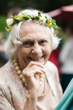 Not sure all grandma's would go for this ~ but she seems pretty happy! Photography by weddingsbysashagulish.com, Floral Design by mendocinofloraldesign.com