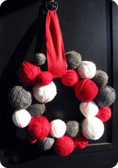 Yarn Ball Wreath in Gray, White, and Red