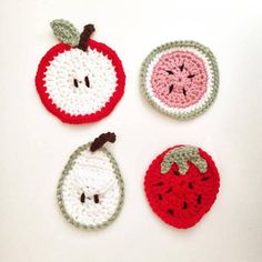 Handmade Crochet Fruit Coasters - Set Of Four (Apple, Watermelon, Pear, and Strawberry)