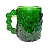Arcoroc Emerald Green Glass Snowman Mug Sets