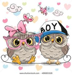 Two Cute Owls on a hearts background