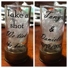 Shotgun shell shot glasses! Absolutely love how these turned out so I wanted to share with all you pinners this awesome fun wedding favor idea for guests as well as where to find them!