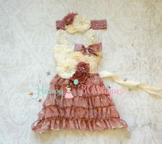 Ivory Vintage Rose Lace Dress set