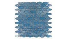 Diamond Tech Glass Tiles - Vista - 3/4 inch x 2 inch Oval Glass Tile in Fountain Blue - ( TV455 )