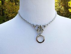 24/7 Wear Submissive O Ring BDSM Discreet Day Collar Necklace, Stainless Steel by thecagedflower.com