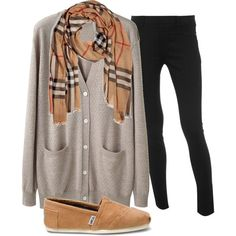 comfy fall outfit complete with a cardigan