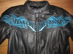 Harley Davidson Womens Blue Twilight Leather Jacket – Turquois Embroidery
