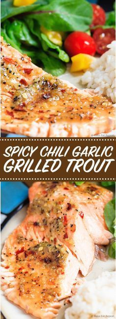 Spicy Chili Garlic Grilled Trout - Quick and easy spicy chili garlic grilled trout - dinner is on the table in under 30 minutes! Perfect for those busy school nights!