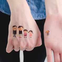 Tattly - Four Folks and One Dog - Temporary Tattoos    #temporary #tattoo