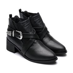 Black Carved Pointed Toe Ankle Boots