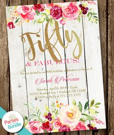 Party Invitation, Watercolor Floral Birthday Invitation, 50 and Fabulous Invitations, Surprise Birthday Invite, Birthday Surprise For Mom, Surprise Birthday Invitations, Moms 50th Birthday, Diy Birthday Banner, Birthday Wishes Messages, Birthday Invitation Templates, Party Invitations, 19th Birthday, Happy Birthday