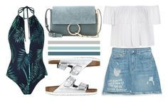 """""""The beach"""" by fridaeklof ❤ liked on Polyvore featuring Zara, Birkenstock, Topshop, Ally Fashion and Chloé"""