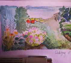 esquisse du jardin d'Urbigny (c)AP2013 aquarelle et feutre