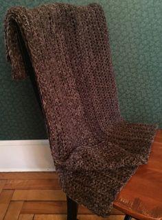 CROCHET BULKY handmade afghan blanket couch acrylic wool adult  toddler brown #handmade #homespun