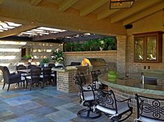 Outdoor bar dining room pergola