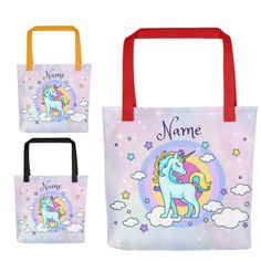 Personalized Unicorn Tote Bag, Unicorn Gift, Unicorn Bag, Unicorn Library Bag, Blue & Gold Unicorn On Purple Tote Bag Choose Handle Color by UnicornGiftsFor on Etsy Library Bag, Pile Of Books, Blue Gold, Purple, Unicorn Gifts, Unicorns, Reusable Tote Bags, Handle, Unique Jewelry