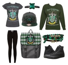"""Slytherin (my house)"" by gryffindorgirl-i ❤ liked on Polyvore featuring мода, Jack Vartanian и Converse"