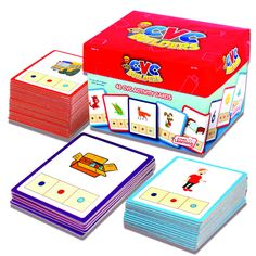 Set of 48 CVC cards with picture and color guides for building 3 letter CVC…