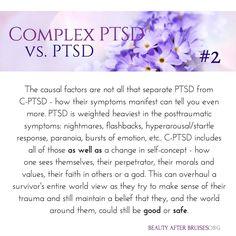 Complex PTSD vs PTSD PTSD post traumatic stress disorder veterans trauma quotes recovery symptoms signs truths coping skills mental health facts read more ab. Stress Disorders, Anxiety Disorder, Infp, Mental Health Facts, Health Memes, Trauma Quotes, Illness Quotes, Ptsd Recovery, Ptsd Symptoms