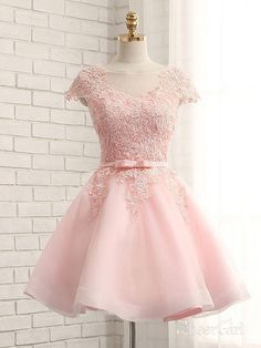 A-line Lace Appliqued Mini Length Homecoming Dresses with Cap Sleeves,apd2668